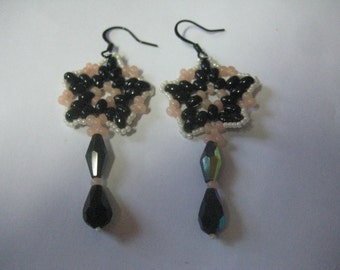 Jet Twin Beads and Drops Pierced Wire Earrings Designed and Made by ME