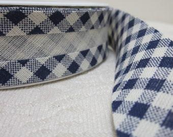 Navy Blue and Ecru Cotton Gingham Bias Binding