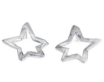 Starlight, Starbright Sterling Silver Oversized Post Earrings