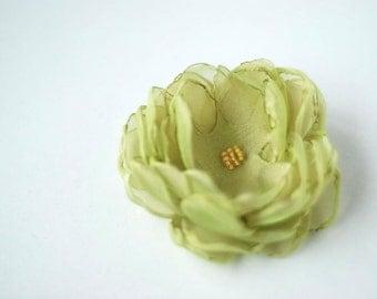 Handmade Flower brooch made of organza, small 8cm