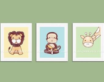 Baby boy nursery zoo animals - art print - monkeys - baby art - lion - nursery jungle - children - animal art - Set - 3 prints