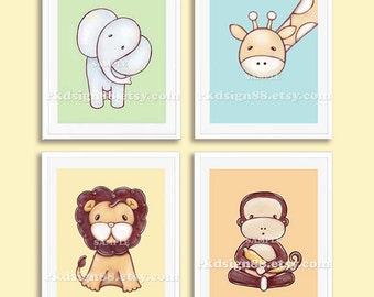 Baby boy nursery decor nursery art prints kids wall art safari animals children decor elephant lion giraffe monkey Set, 4 prints