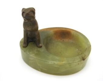 Vintage Marble Ashtray - Veinna Bronze Dog - Art Deco