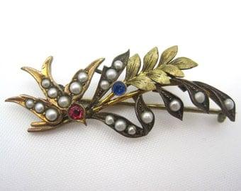 Antique Sparrow Brooch - Pearl Victorian Bird Jewelry
