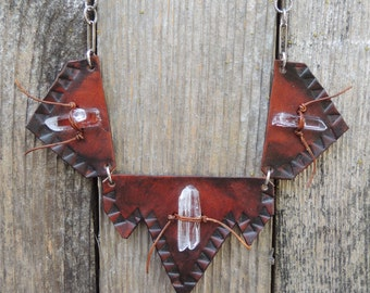 Tooled Leather Geometric Quartz Link Bib Necklace//  Ritual //  ooak handmade by HEXEREI