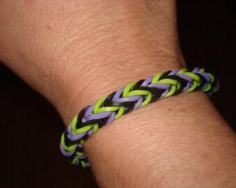 Rainbow Loom Halloween Bracelet in black, purple and green