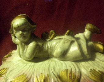 Porcelain Norleans Box Trinket Box Lidded with Girl Figurine Japan