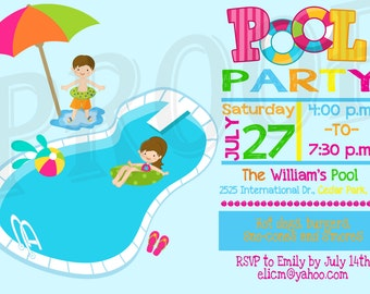Pool Party Invitation Pool Party Decoration Kids Pool Party Printable Pool Party invitation Pool Party Invite Pool Party Birthday invitation
