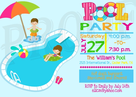 Pool party invitation pool party decoration kids pool party il570xn stopboris Image collections