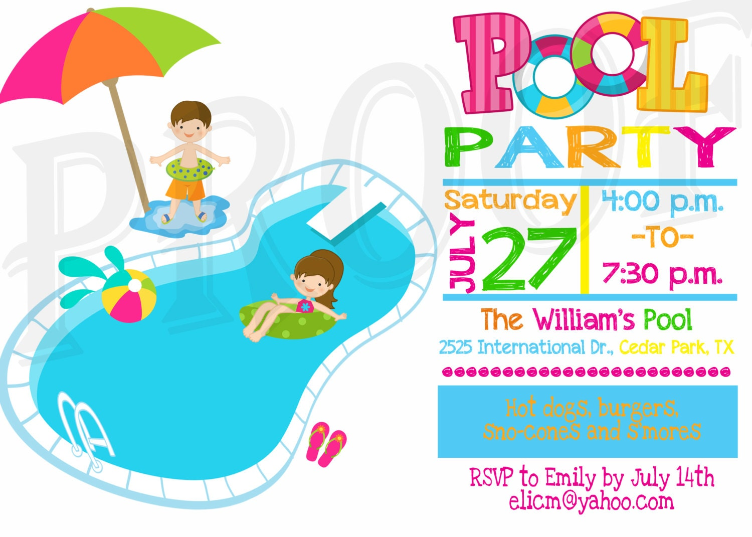 Pool Party Invitation Pool Party Decoration Kids Pool Party – Invitation Pool Party