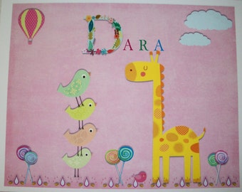 GIRL WaLL ArT - Giraffe, Birds, Hot Air Balloon, Clouds, Lollipops - Personalized - 8 x 10 - Whimsical - GWA 8872