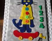 "Pete the Cat Felt Story Board -"" Pete the Cat and His Four Groovyy Buttonsl"" - FREE SHIPPING within the US!"