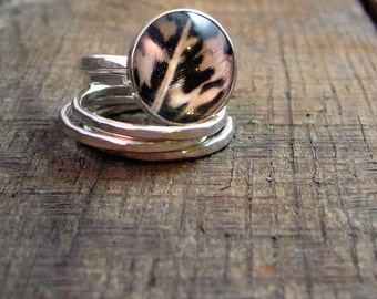 Sterling Stacking Rings - Set of 4 hammered and 1 wide hammered with Naturally Shed Amherst Pheasant Feather - MADE TO ORDER