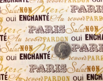 BTY - 36 inches X 45 inches Riley Blake Designs -  PARIS & COMPANY - My Minds  Eye -  French Script - French Words - By the Yard