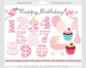 Birthday party clipart, birthday clip art, numbers, balloons, pink, girl, nursery, sweet, birds, party hats, baby carriage, happy birthday