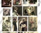 Digital Collage Sheet Christmas Ladies Postcard Images (Sheet no. O103) Instant Download