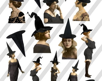 Digital Collage Sheet Beautiful Halloween Witch Images (Sheet No.O193) Instant Download