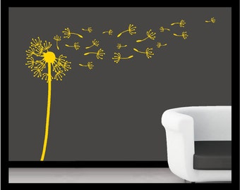 5 Foot - Dandelions Blowing   - Vinyl Decal