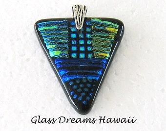 Fused Glass Pendant, Dichroic Glass, Hawaii Glass Jewelry, Handmade Patchwork Pendant, Fused Glass Jewelry, Fashion Pendant