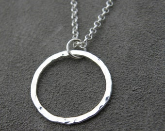 Silver Hammered Circle Pendant