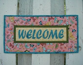 Quilted Welcome Wall Hanging - Butterflies (EDWLB)