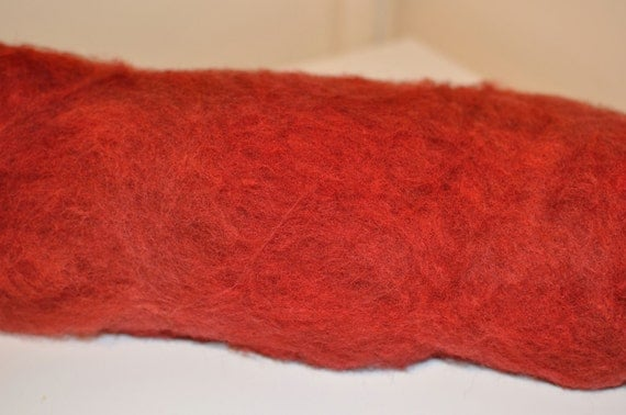 Hand-dyed Falkland Fibre Batts in Shades of Rust and Red
