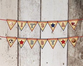 All Star Baby Shower Bunting Banner - All Sports Theme - Instant Download PDF