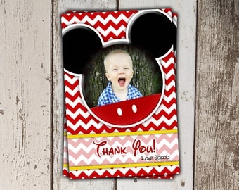 Mickey Mouse Thank You Cards with Photo - Red Chevron
