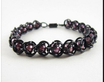 Captured Bead Chain Maille Bracelet Black with Purple Glass Pearl Beads