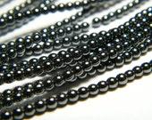 16 inch strand 2mm round natural Hematite beads