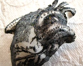 Anatomical Heart - Black Glitter  - Silk Pillow Art Brooch