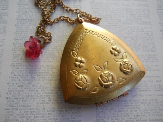 Large Embossed Brass Triangle Locket Vintage 1950s on Long Brass Chain Unique Keepsake Jewelry