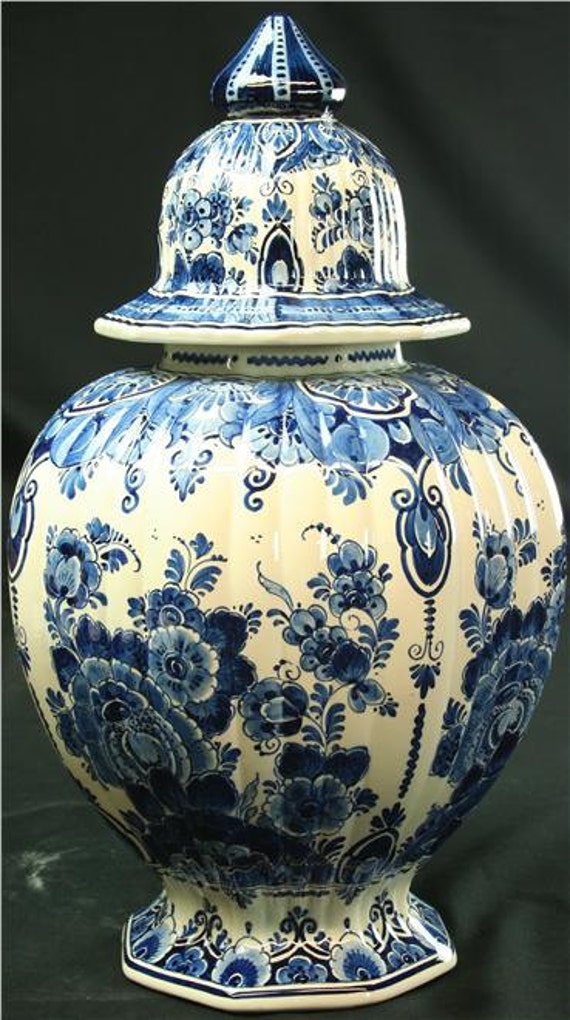 Items Similar To Vintage Large Blue Delft Ginger Jar Vase