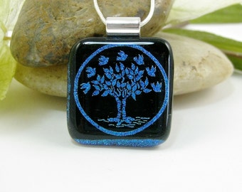 Blue Glass Tree Pendant - Dichroic Glass Tree of Life