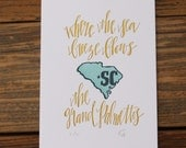 South Carolina Letterpress State Print