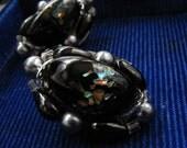 black art glass earrings / marked japan / clip on / cherry brand lampwork