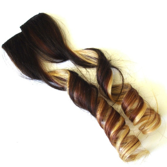 Hair Extensions Faux Ombre Brown with Auburn and by IKickShins