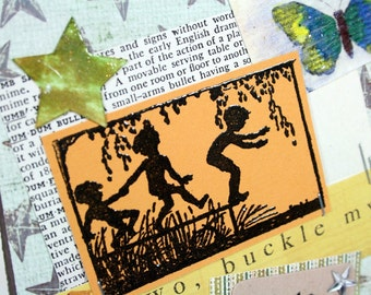 Hand Stamped All Occasion Card Good Day Sun Shine Children Silhouettes Swimming Hole Stars