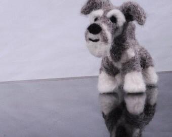 Custom Schnauzer dog - needle felted origonal puppy soft sculpture.