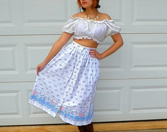 SALE 1980s Vintage Pastel Prairie Skirt White High Waised Prairie Skirt Pink Blue Polka Dot Floral with Pockets Size Small