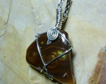 Mexican Fire Agate Sterling Silver Wire Pendant