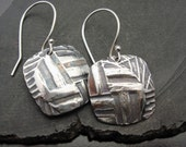 Basket Case - Heavily textured Oxidized Square Sterling Silver Earrings