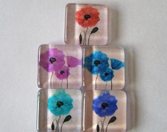 Pretty Flowers Square Glass Tile Magnets Set of 5