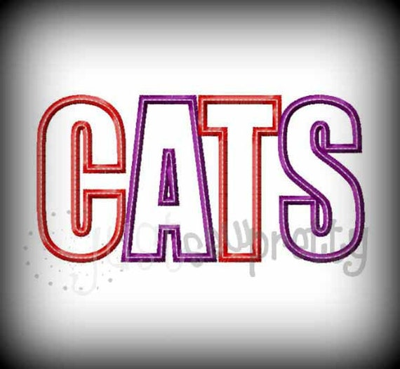 Cats word embroidery applique design