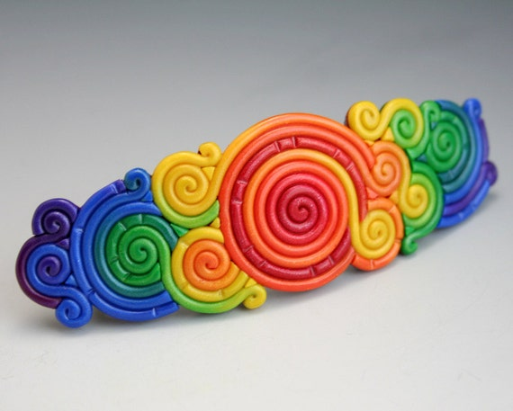 Large Rainbow Barrette in Polymer Clay Filigree