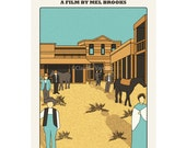 Movie poster Blazing Saddles 12x18 inches retro print