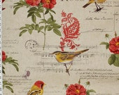 Paris Fabric French fabric music fabric bird fabric French writing red rose paisley fabric romantic fabric home dec  FREE SHIPPING 1 yard