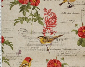 Paris fabric music bird  French writing red rose paisley travel interior home decorating material 1 yard