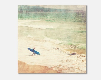 surfer canvas print, beach gallery wrap, surfer photo, photography, blue surfboard ocean waves boys room surfer decor mint green canvas wrap
