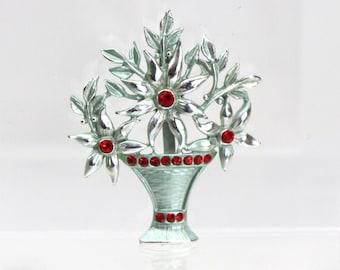 1940s Silver & Red Rhinestone Bouquet in a Vase Brooch
